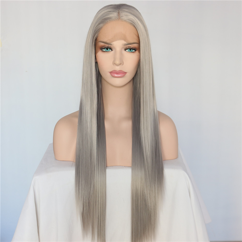 Beautytown Silver Grey Color Heat Resistant Hair Straight Blogger Daily Makeup Synthetic Lace Front Party Wigs For Holiday Gift Synthetic None-lacewigs Synthetic Wigs