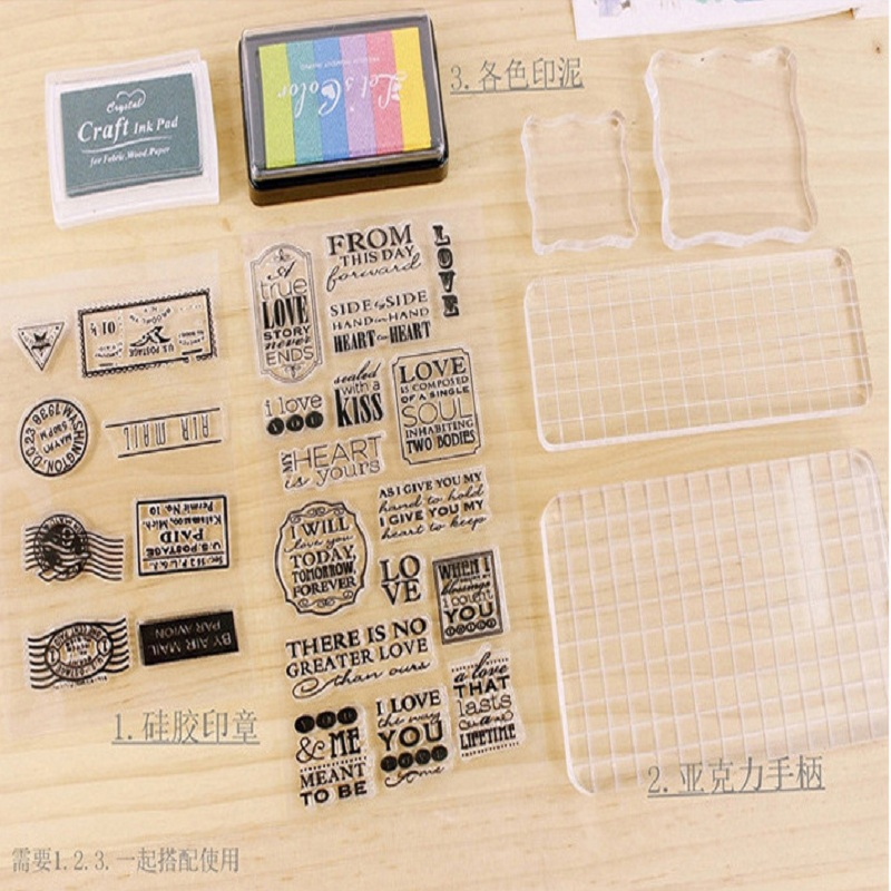 Chilldren Silicone Seal & Acrylic Board With Inkpad/Kids Adult DIY Album & Art Craft Drawing Stamp Handmade Toys,free Shipping