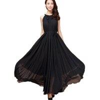 Femmes D'été de Mousseline de Soie Dress Orange Bleu Noir 6XL Plus La Taille Manches Longues Halter Dress Bohème Élégant Casual Plage Maxi Dress