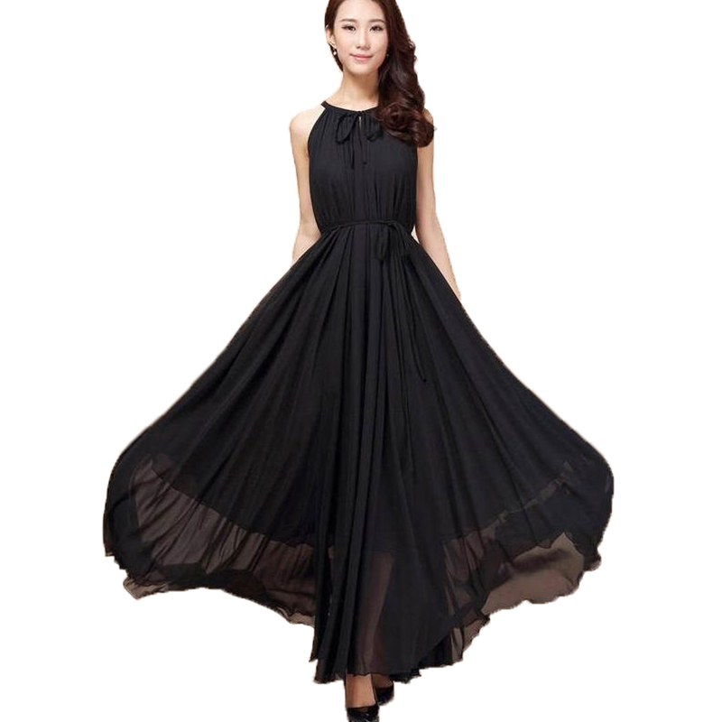 US $19.49 25% OFF|Women Summer Chiffon Dress Orange Blue Black 6XL Plus  Size Sleeveless Long Halter Dress Bohemian Elegant Casual Beach Maxi  Dress-in ...