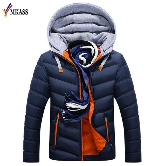 New Men Autumn & Winter Jacket Warm Coat Cotton-Padded Outwear Mens Coats Jackets Hooded Collar Slim Clothes Thick Parkas M-4XL