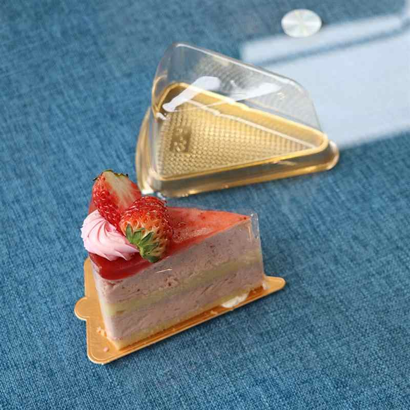50pcs Cake Boxes Disposable Triangle/Round Shaped Moon Tray Food Gift Packaging Boxes Kitchen Containers (Golden/Black Bottom)