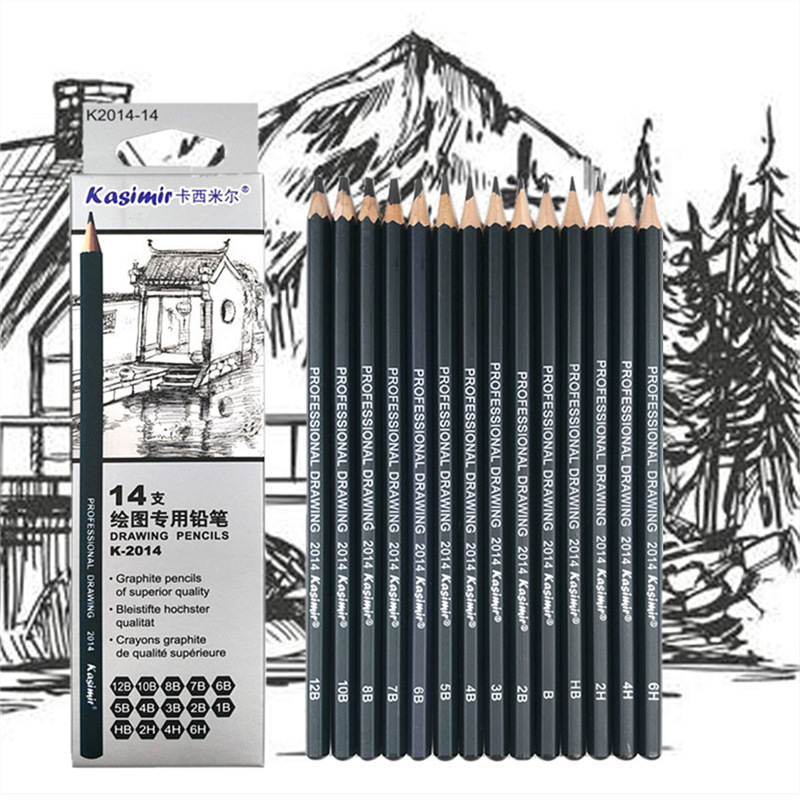 Sketch drawing pencil set 1B 2B 3B 4B 5B 6B 7B 8B 10B 12B HB 2H 4H 6H fourteen different kind of pencils in box 26 38pcs sketching drawing pencil set 3h 2h h hb b 2b 3b 4b 5b 6b 7b 8b 9b with charcoal soft pastel pencils for art supplies