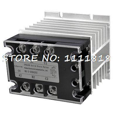 DC-AC 25A 5-32VDC/ 380VAC Three Phase SSR Solid State Relay w Aluminum Heat Sink 3 32vdc 380vac 200a 2 plug wire ssr solid state relay