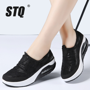 Image 1 - STQ 2020 סתיו נשים שטוח פלטפורמת סניקרס נעלי נשים לנשימה רשת נעליים יומיומיות להחליק על פלטפורמת מטפסי נעלי 7666