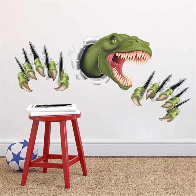 3d наклейки на стену с динозавром для детской комнаты украшения дома diy фотообои с животными сафари ПВХ Наклейки на стены