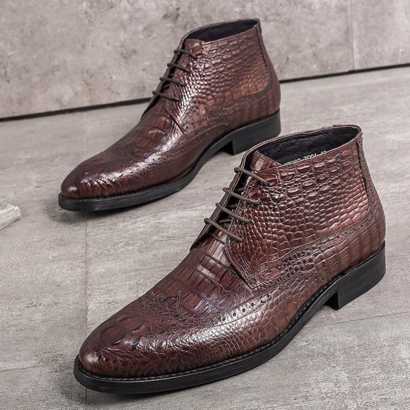 Apontado Mens Genuíno Marca brown De Dedo Estilo Heinrich Feminino Homens Sapatos Botas Tenis Designer Couro up Black Cowboy Crocodilo Lace Negócio dI7qzw