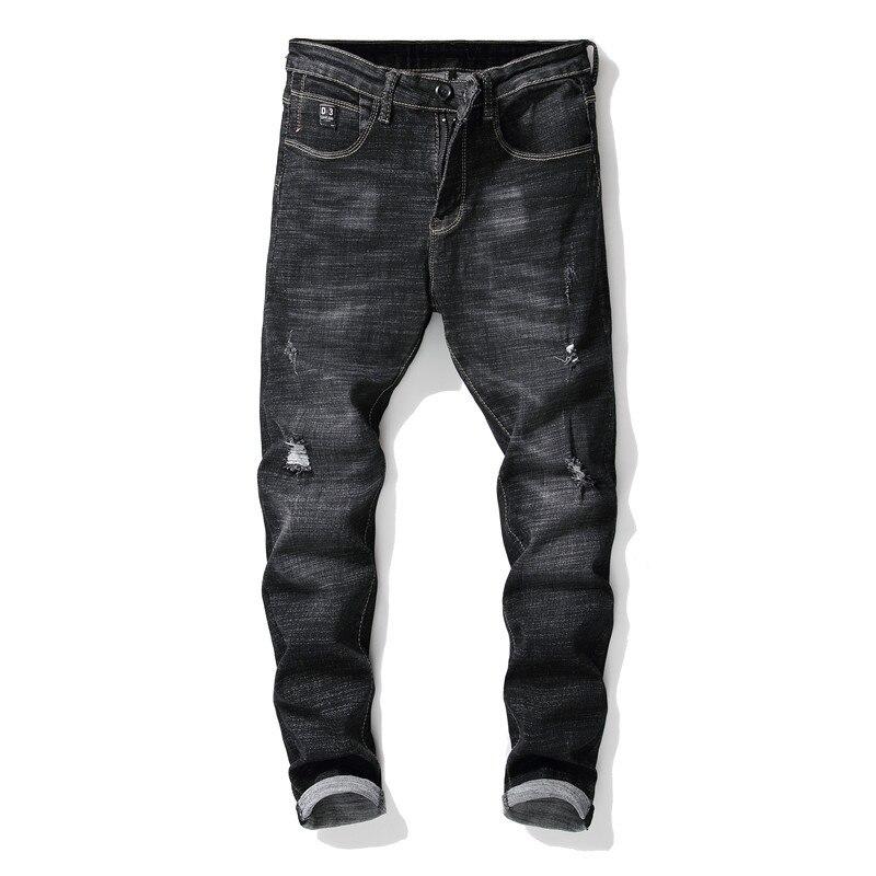 Потертые потрепанные черные джинсы для мужчин, Стрейчевые зауженные джинсы, черные повседневные мужские джинсы