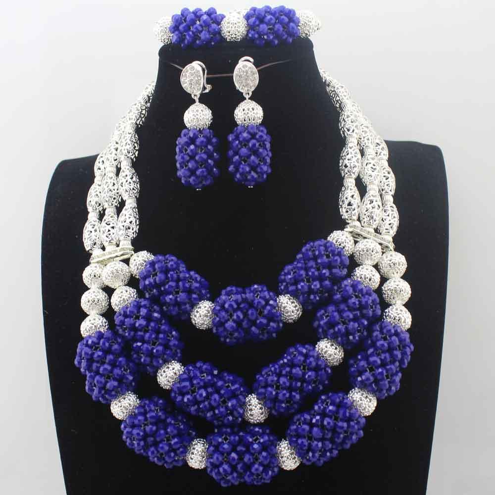 Африканские Серебряный Бусины Ювелирные Наборы Королевский синий кристалл в нигерийском стиле Ювелирные наборы индийские свадебные Цепочки и ожерелья Ювелирные наборы Бесплатная доставка hd8577