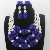 African Silver Beads Jewelry Sets Royal Blue Crystal Nigerian Jewelry Sets Indian Bridal Necklace Jewelry Sets Free Shipp HD8577