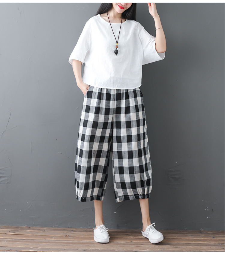 2019 Cotton Linen Two Piece Sets Women Plus Size Half Sleeve Tops And Wide Leg Cropped Pants Casual Vintage Women's Sets Suits 60