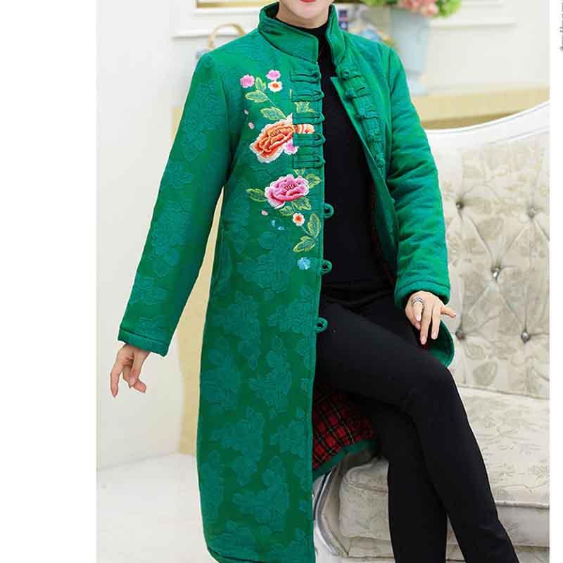 Épaissie Vêtements Noir Longue vert D'âge Pa484 De La Broderie façonné Dans Coton Veste Moyen Vieux Section fuchsia rouge Et fwqBAY
