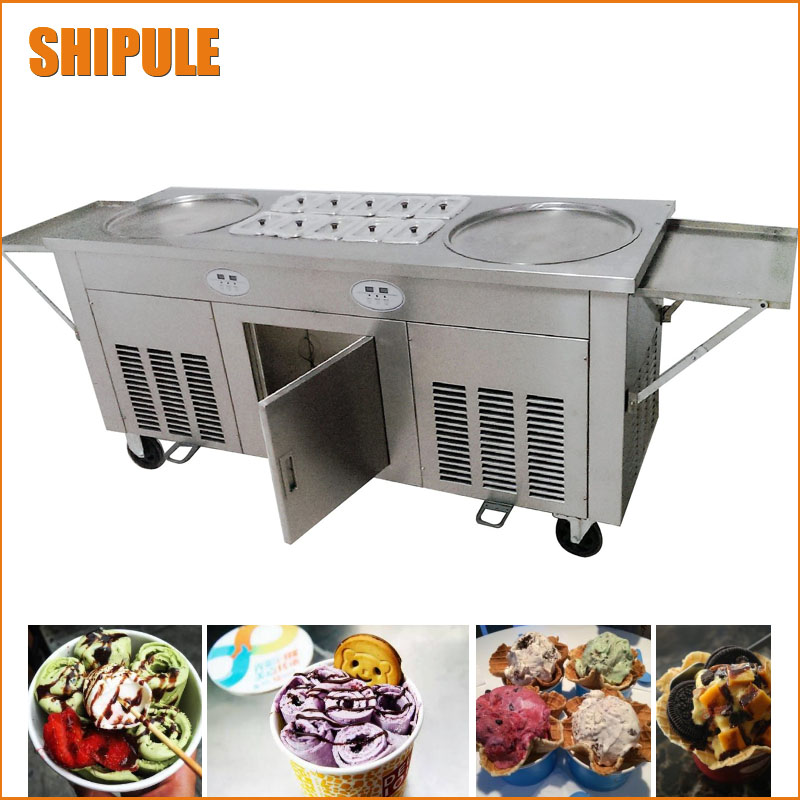 Double Pots Commercial Fried Ice Cream Machine Make Roll Ice Cream Ice Frying Machine Roll Ice Cream Maker Three Compressor shipule fried ice cream machine roll machine ice cream maker