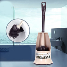 Self-Cleaning Double Headed Silicone Toilet Brush with Holder Anti-Stick Effect, Hard Wearing & Flexible Ergonomic Handle