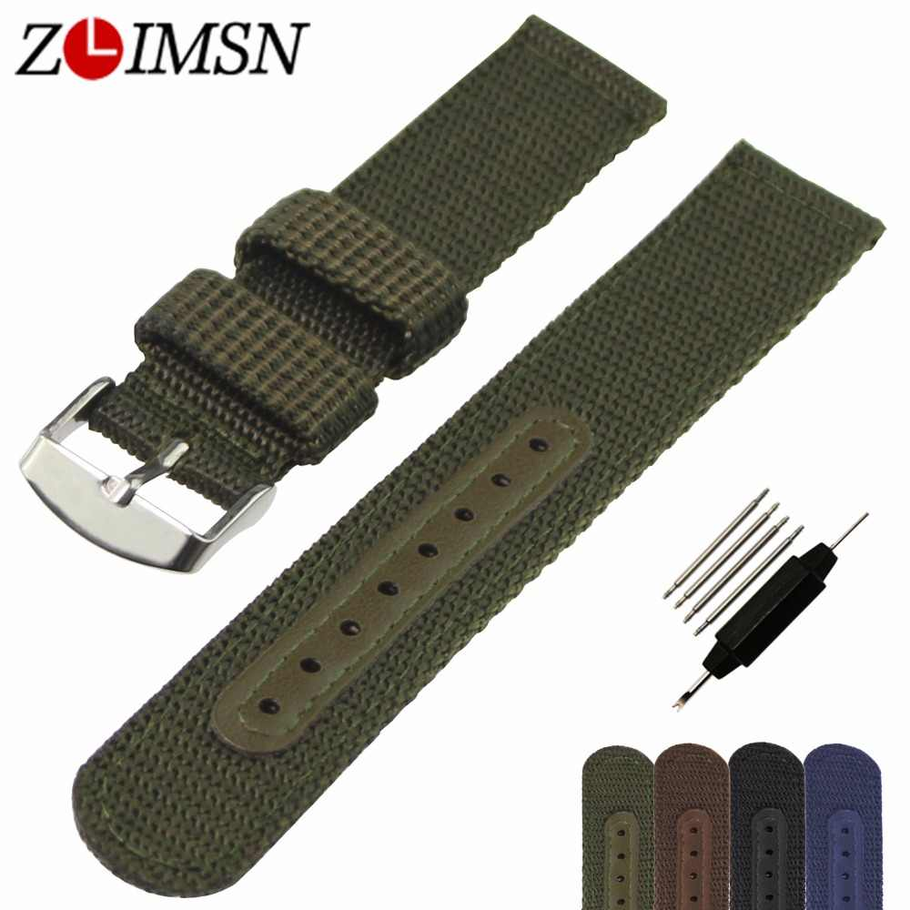 ZLIMSN להקת שעון רצועת ניילון Watchbands רשת נשים גברים ספורט שעונים חגורת אביזרי Relojes Hombre 2018 20mm 22mm 24mm רך