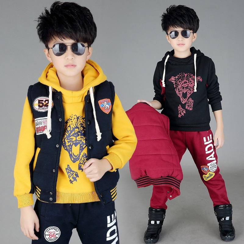 ФОТО Free shipping winter/autumn children clothing set leisure three pieces sweater+vest+pants boy sport suit