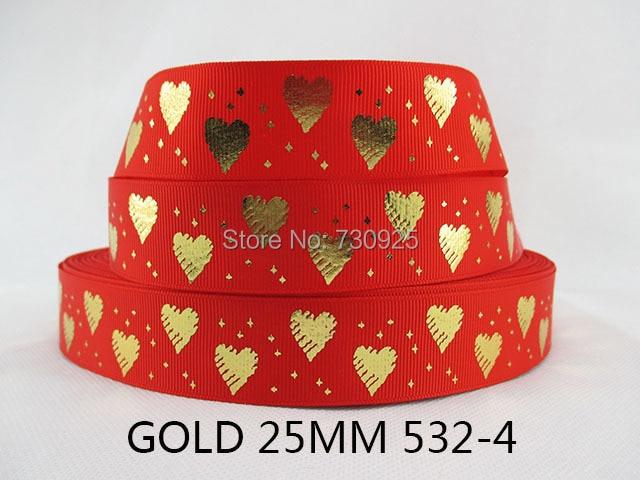 (5yds per roll) 5Y532 kerryribbon tape 1  love gold red happy valentine ribbon Grosgrain ribbon
