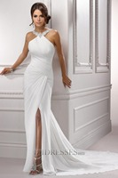 Charming Beads Prom Dresses White Split Front/Side Sweep Ruched Chiffon Evening Prom Party Gowns New 2015 GL