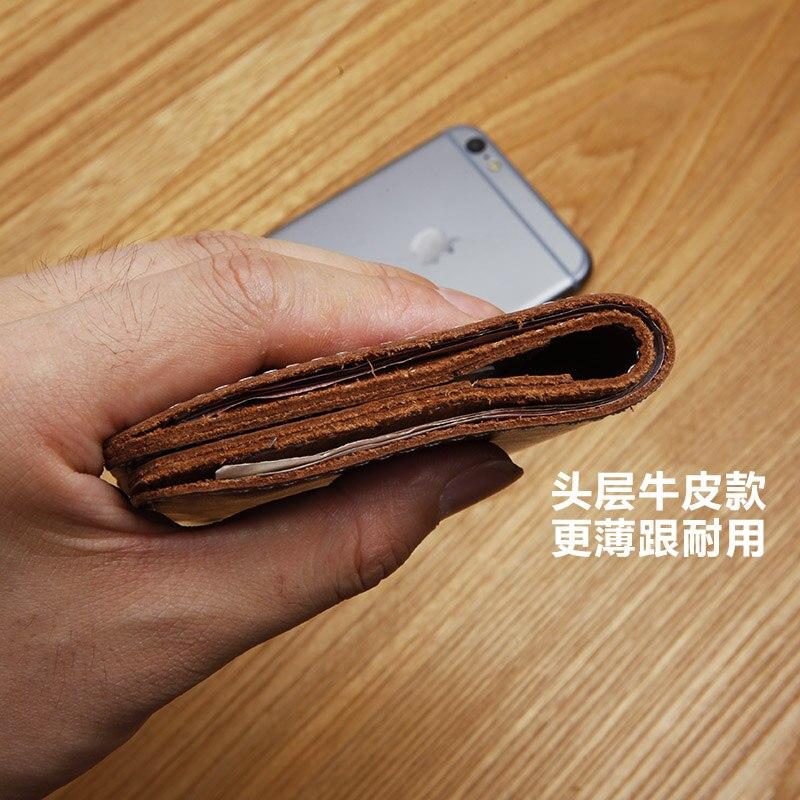 LANSPACE designer handgjord läder plånbok herr plånbok liten - Plånböcker - Foto 4