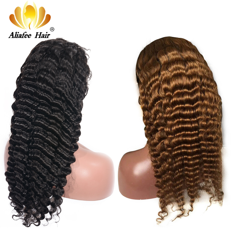 AliAfee 13x4 Lace Front Human Hair Wigs Brazilian Deep Wave Remy Lace Front Wig Pre Plucked