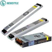 Ultra cienki zasilacz LED DC12V 5V 24V 200W 300W Led sterownik AC190 240V transformatory oświetleniowe do taśmy LED światła