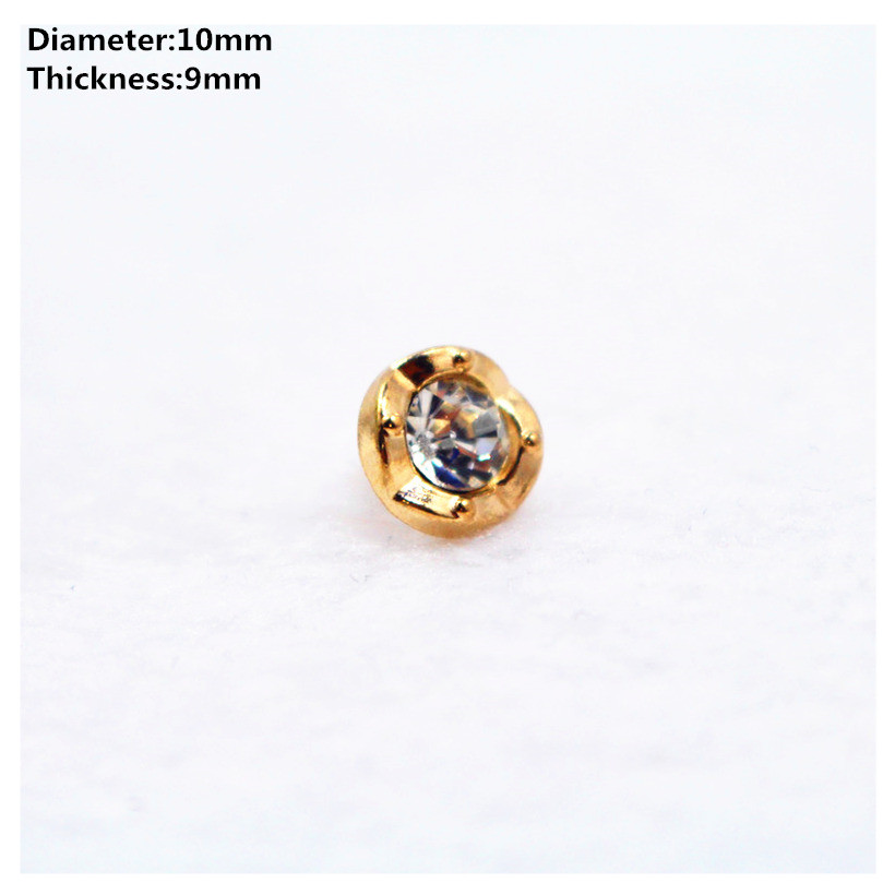 Brave Free Shipping 10pcs 10mm Golden With Drill Metal Buttons,brand Button Garment Accessories Diy Material/033 Buttons Arts,crafts & Sewing