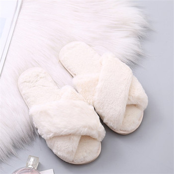 COOTELILI Women Home Slippers Winter Warm Shoes Woman Slip on Flats Slides Female Faux Fur Slippers 36-41 wholesale 1