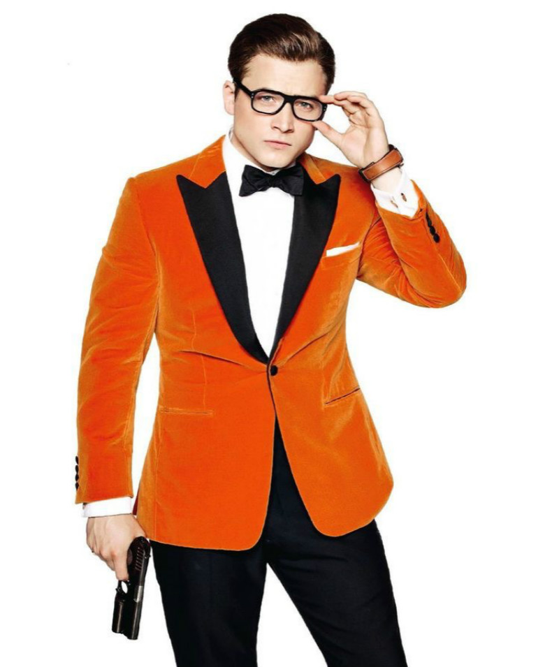 Movie Kingsman 2 Eggsy Cosplay Costume Mens Womens Unisex Casual Velvet Suit High Quality 1:1 Reduction Jacket Coat Custom Made