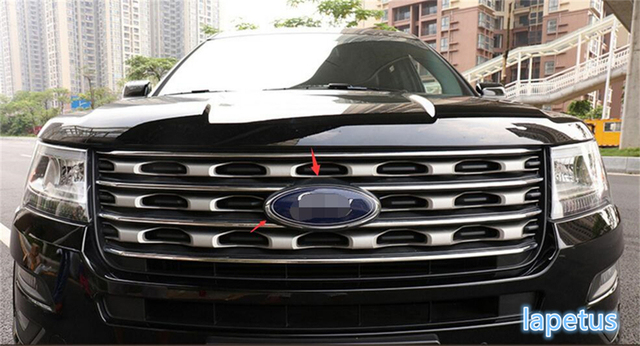 1 Pcs For Ford Explorer 2016 2017 Abs Chrome Front Head Central Middle Grill Emblem Frame Cover Trim