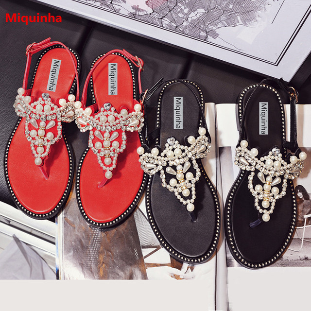 79f696819 Miquinha Luxury Crystal Pearl Embellished Flat Flip Flop Buckle Strap Women Wedding  Sandals Red Comfortable Casual Female Shoes