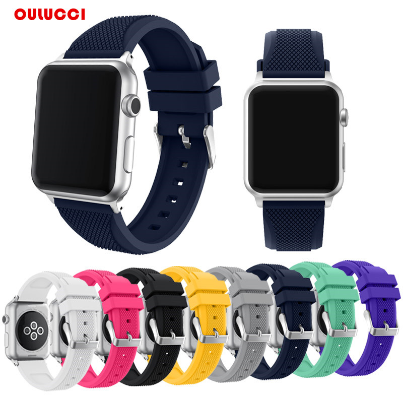 New   Apple Watch Band Series 1 Series 2 3 Soft Silicone Sport Replacement Wrist Strap for iWatch,38mm 42mm Black  Yellow