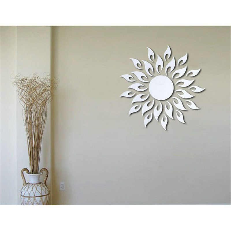 Wholesale Luxury Silver 3D Sun Flowers Home Decor Cool Mirrors Wall Stickers New 2016China