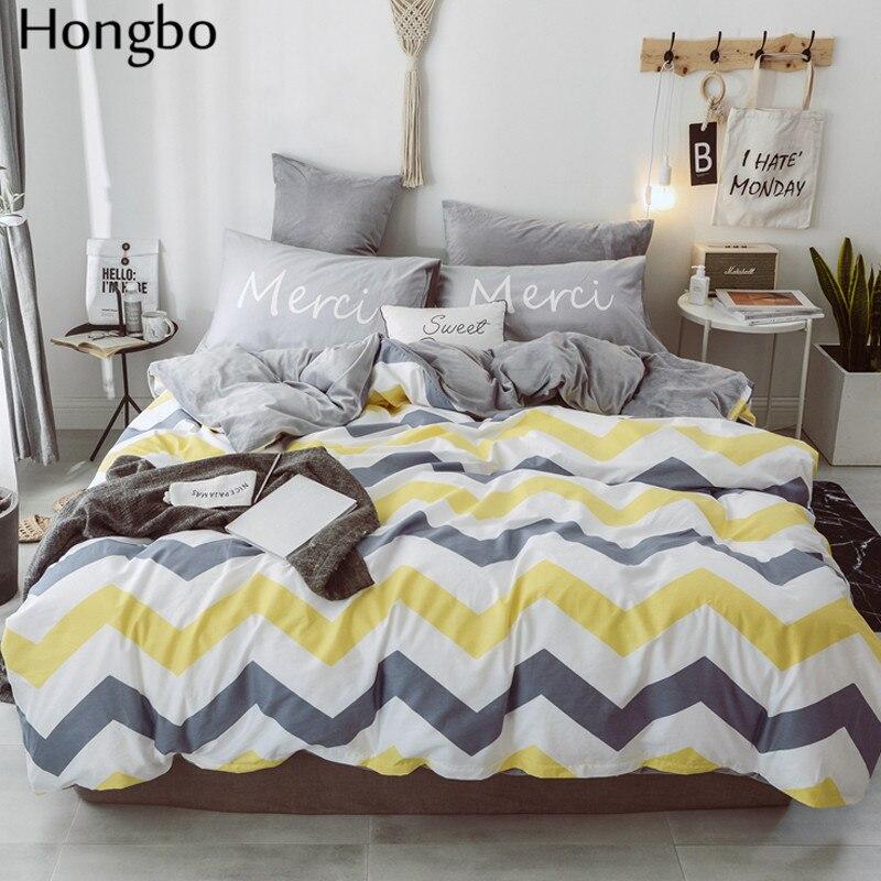 Hongbo хлопок + фланель многофункциональный AB с обеих сторон Серый Белый Желтый волнистый узор зимний пододеяльник