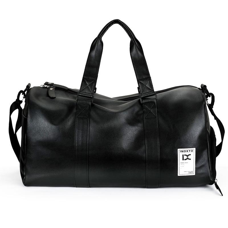 Black Leather PU Sport Bag Men For Gym Sport Bags For Fitness Portable Shoulder Bag Handbag With Shoes Storage Duffel Bag