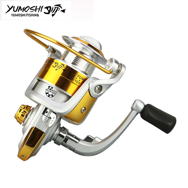 Best Offers Cheap Carp Spinning Fishing Reel 12BB Metal Spool Plastic Body Rubber Reel Handle Fishing Wheel