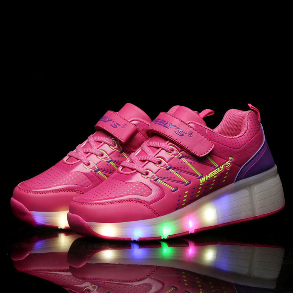 Roller shoes vans - 2017 Children Glowing Sneakers Kids Roller Skate Shoes With Wheels Led Light Up Glowing Sneakers For
