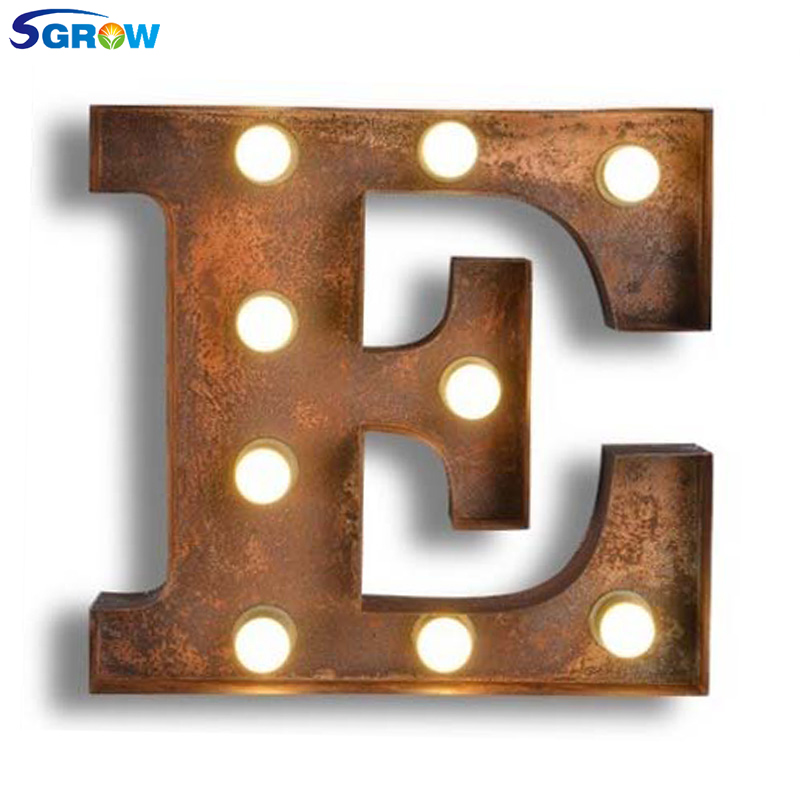 SGROW Metal Letter E Wall Lamp Light for Bedroom Living Room Art Lampara Industrial Creative Lights Logo E Iron Billboard Lamps
