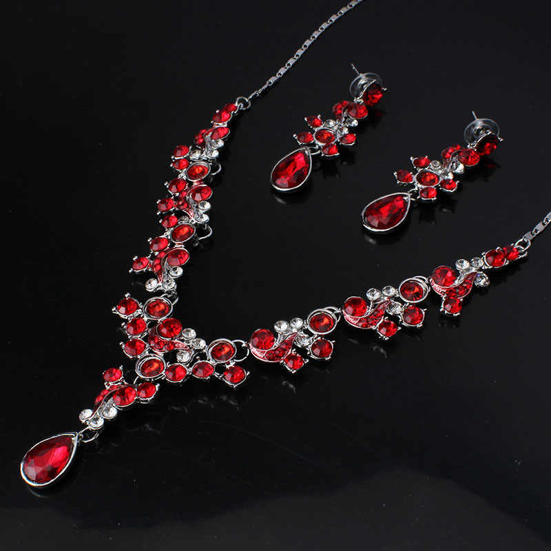 Jiayijiaduo Warna Perak Berlian Imitasi Bridal Perhiasan Set Klasik Titik Air Mata Kristal Pernikahan Kalung Set Eropa Pesta Perhiasan