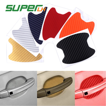 4Pcs Car Auto Carbon fiber Door Film Sheet Handle Scratch Sticker aint scratch Protector Cover Exterior Accessories Car-styling 4pcs lot handle protection film car sticker exterior transparent sticker automotive auto accessories car styling