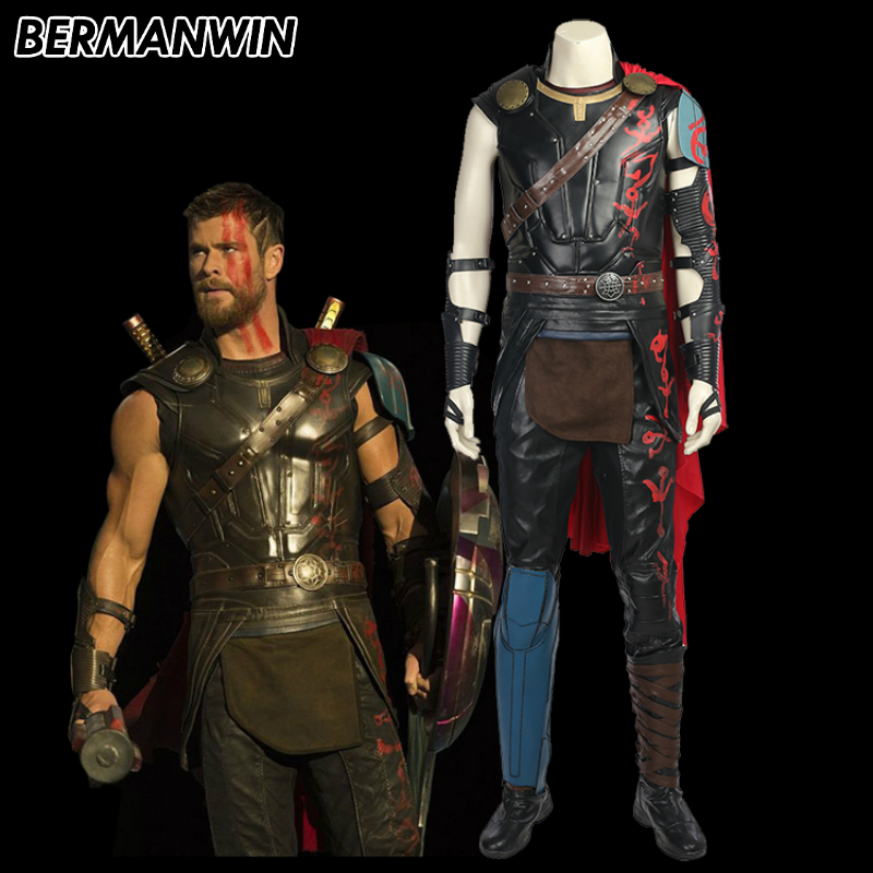 BERMANWIN High Quality Thor 3 Ragnarok Odinson Costume Adult men Thor costume Halloween Cosplay Costume