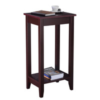 Goplus Tall End Table Coffee Stand Night Side Nightstand Accent Furniture Brown Modern Coffee Table HW51529