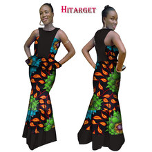 2017 New Autumn African Wax Print Two Piece Set Bazin Riche Elegant Women Sets Traditional Kanga Clothing WY986