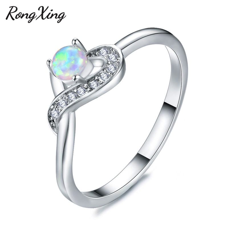 Wedding & Engagement Jewelry Wedding Bands Rongxing Unique Love Heart Wave Rings For Women 925 Sterling Silver Filled White Zircon Round Birthstone Wedding Bands For Lover Selected Material