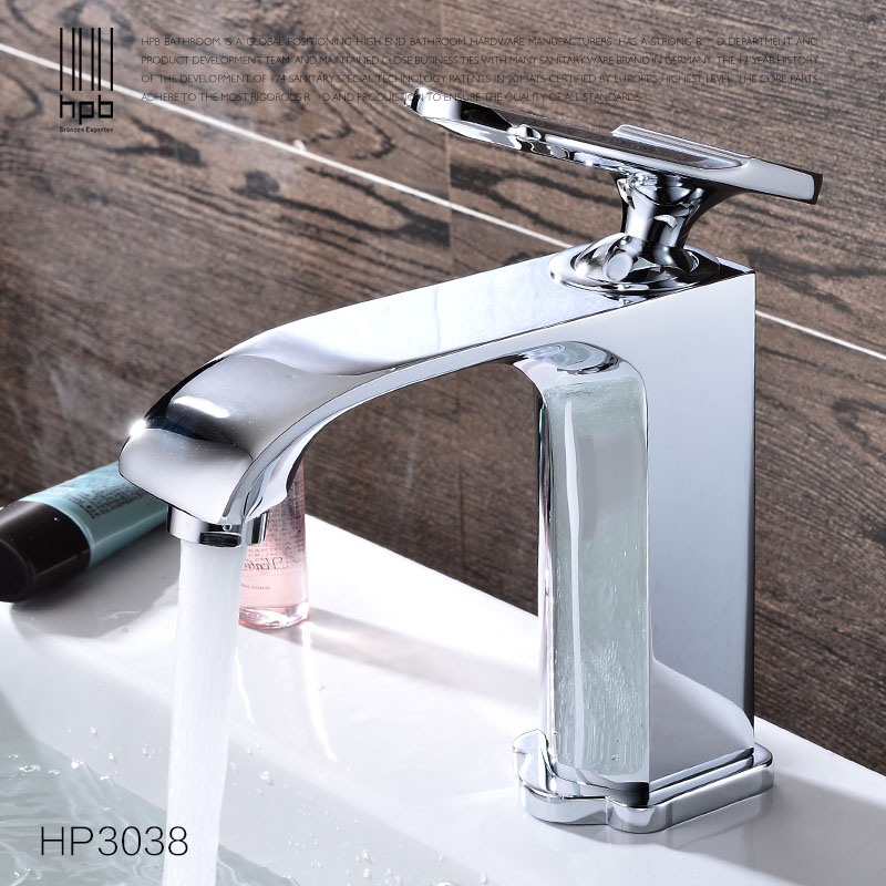 HPB Chrome Brass Basin Faucet Cold Hot Water Single hole Sink Bathroom Tap Mixer grifos para lavabos robinet HP3038 2016 hot sale chrome finishing 360 degree rotate brass single lever water tap bathroom sink mixer basin faucet