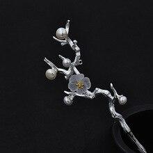 Horquilla con perlas de Plata de Ley 925 para el pelo japonés de Sakura, broches étnicos Vintage para el cabello con flores de cerezo