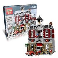 2016 New LEPIN 15004 2313Pcs City Creator Fire Brigade Model Building Kits Blocks Bricks Compatible Toys