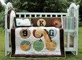 4 Pcs cotton Baby bedding set 3D Embroidery bear giraffe monkey Pattern Quilt Bumper Cushion Pillow Unisex Baby Crib Bedding