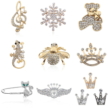 Fashion Full Rhinestone Bee Tortoise Lizard Bear Crown Music Note Guitar Brooches Pins Jewelry For Women Christmas Gifts Broches stunning rhinestone music note guitar shape hollow out bracelet for women