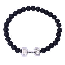 DOUBLE NOSE (10 pcs/lot) Rhodium Tone Black Matte Bead Fitness Fit Mom Barbell Beads Bracelet Women Gift Jewelry(China)