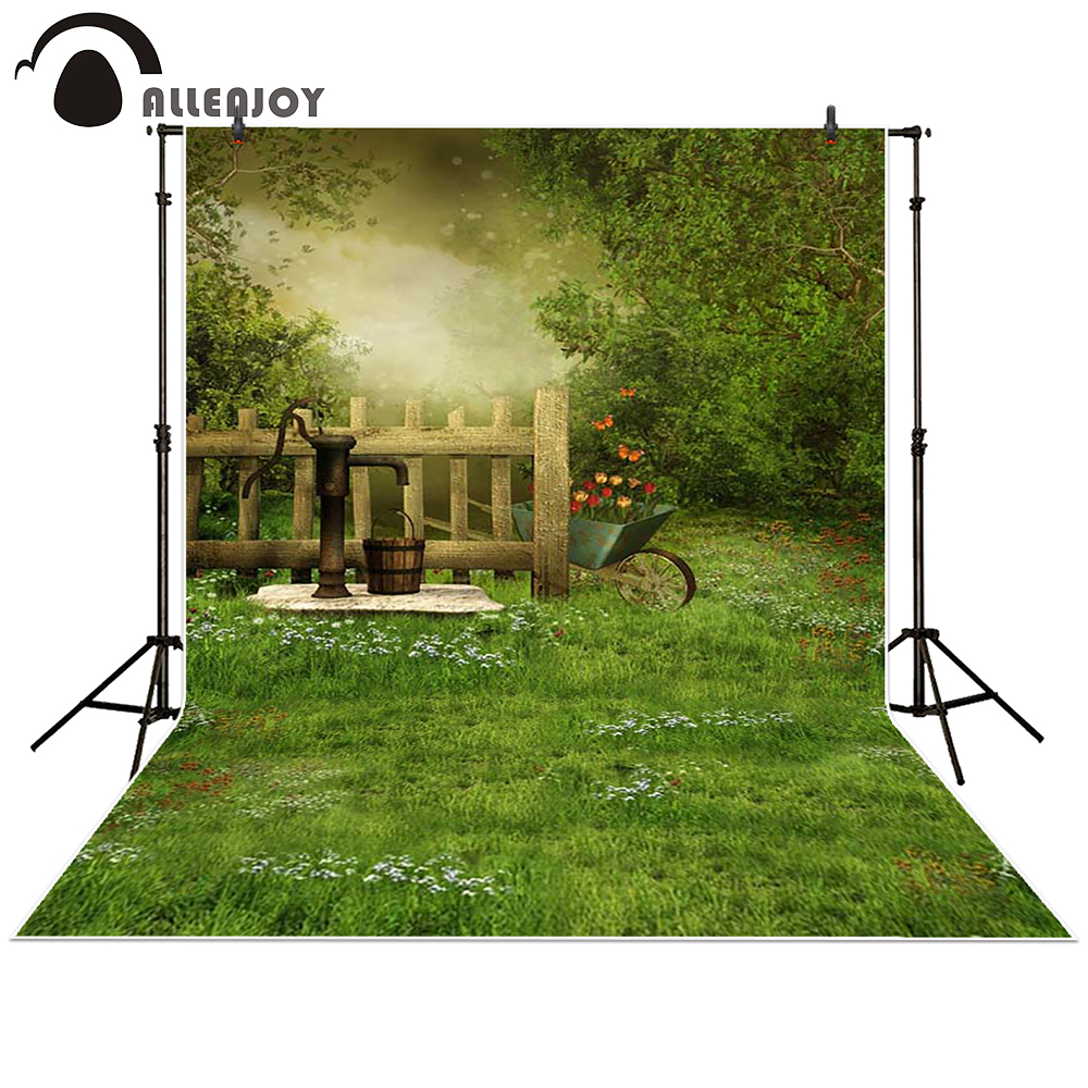 Allenjoy Photography backdrops background magic jungle garden grass flowers Country children newborn kids baby shower studio